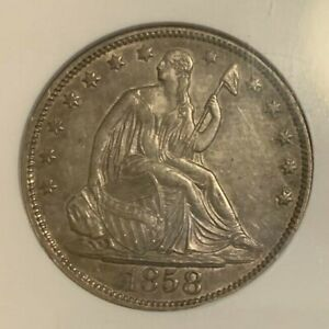 1858-O ~ Errant Digits From Rock ~ MPD WB-17 R-5 ~ Seated Liberty 50c ~ NGC AU58
