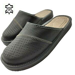 Herren Leder Echtleder Hausschuhe Latschen Pantoffeln grau  Gr.40 - 48 EU Ware