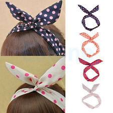 Cute Dot Rabbit Bunny Ear Ribbon Metal Wire Headband Scarf Hair Bow Head Band