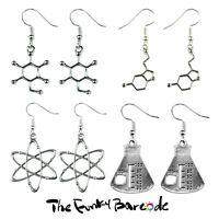 TFB - SCIENCE LAB DANGLE EARRINGS Chemistry Funky Geek Symbol Retro Sign Atom