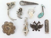GREAT LOT VINTAGE STERLING SILVER BROOCHES. LANG, BP, NYE, WYLIE, BEAU ETC.