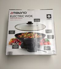 NEW in Box Ambiano Electric Wok 4.26 Qt Non Stick Cooking Surface Temp Control