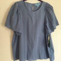 CeCe Blue Bumpy Ruffle Puffy Sleeve Flowy 100% Cotton Shirt Women's Size-Large