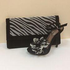 Lunar black faux suede platform sandals & matching bag, UK 6/EU 39, BNWB
