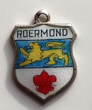 Vintage enamel ROERMOND Netherlands silver travel bracelet shield charm