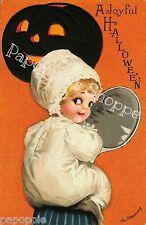 Fabric Block Halloween Vintage Postcard Image Joyful