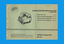 Linde Verstellmotor MV 75 Ersatzteilliste  Ersatzteilkatalog Originla 1969