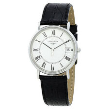 Longines Presence White Dial Black Leather Ladies Watch L48194112
