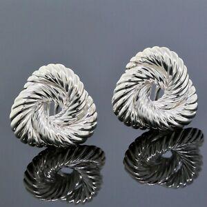 Vintage Tiffany & Co. 925 Sterling Silver Knot Twist Omega Back Clip Earrings