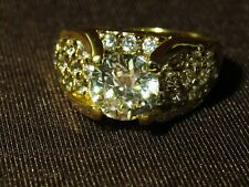 Silver Cz Statement Engagement Ring Gold Plated 925 Kl Sterling