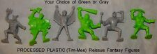 Processed Plastic Tim-Mee reissue fantasy figures 6 in 6 poses green or gray