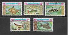 CAMBODIA SET OF 5 USED COMMEMORATIVE STAMPS 1983 - FISH
