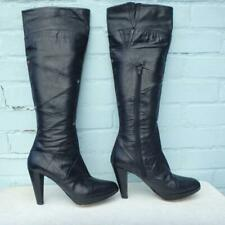 Bertie Leather Boots UK 8 Eur 41 Womens Sexy OTK Pull on Platform Black Boots