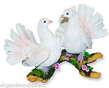 Two White Doves Ornament - Figure -  Statue - Resin Bird Garden Ornament