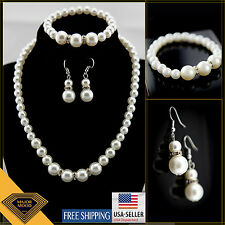 [MS-PS1]Women Jewelry White Pearl Set + Gift Box [Necklace Bracelet Earring ]