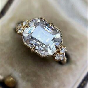 Fashion 18k Yellow Gold Plated Rings Women Cubic Zirconia Jewelry Gift Size 6-10