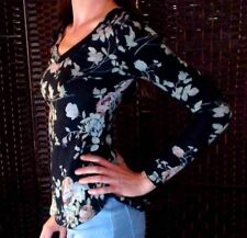Rue 21 Jr Womens XS Fitted Black Pink Green Floral Long Sleeve Top Shirt