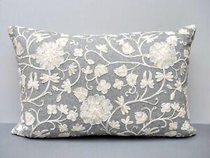 Voyage Maison Designer Cushion Cover 'Enya Smoke' Embroidered Grey & Cream Wool