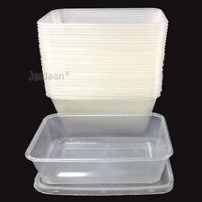 50 Envases De Plástico Frascos Claro Con Tapas Microondas alimentos seguros para llevar 500ml