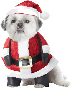 Pet Dog Christmas Walking Santa Claus Clothes Fancy Dress Costume Outfit XS-L