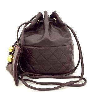 CHANEL Bordeaux Quilted Lambskin CC Logo Drawstring Shoulder Bag /71200