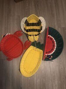 CIROA RASIN WICKER BUMBLE BEE, CRAB, WATERMELON, PINEAPPLE PICNIC BASKET BOWL