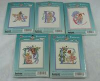 "JanLynn Cherub Letters Counted Cross Stitch Kit SEALED LOT 5x7"" A B C D E NEW"