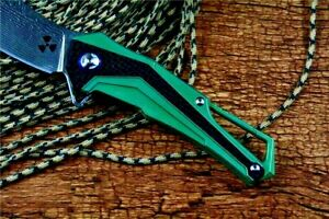 Wharncliffe Folding Knife Pocket Hunting Tactical Damascus Steel Titanium Handle