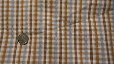 """Vintage Cotton Seersucker Fabric BLUE & BROWN WHITE STRIPE CHECK 1 Yd/45"""""""