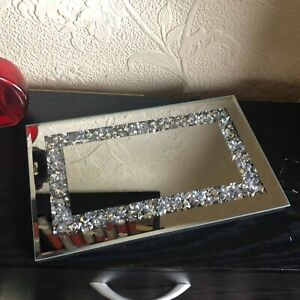 28cm JEWELED DIAMANTE MIRRORED CANDLE PLATE  WEDDING TABLE TRAY RECTANGULAR