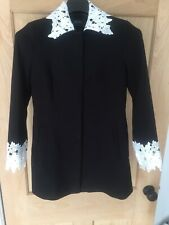 Zara Monochrome Fitted Jacket Coat Size S Lace Collar Worn Twice