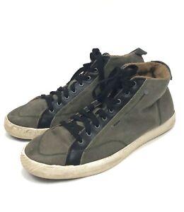 Diesel Mens Sneakers Tennis Shoes 13 Green Canvas Black Textile Trim Hightop