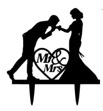 MR & MRS WEDDING CAKE TOPPER-BRIDE AND GROOM-BLACK ACRYLIC SILHOUETTE-DECORATION