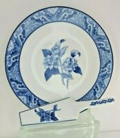 """Formalities by Baum Brothers- Cake plate and Server- 10.5""""- Blue White- Floral"""