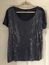 H&M Sparkle Short Sleeve Blouse Navy Sequins Fancy Party Top