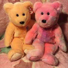 2 Beautiful 38cm Beanie Buddy Teddy Bears Special Clubby & Dearest Mother Pink