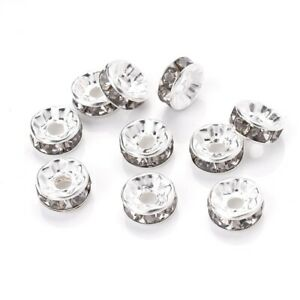 50/100pcs Rhinestone Spacer Beads Mix Color Czech Crystal Metal Spacers