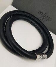Authentic ENDLESS JEWELRY Leather Double Wrap Charm Bracelet Black NEW
