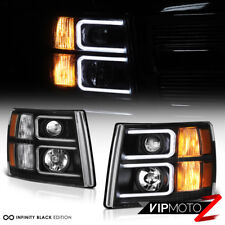 [NEON OPTIC TUBE] 2007-2013 Chevy Silverado Black Projector Halo Headlights Lamp