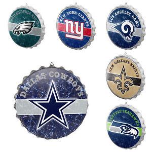 NFL Team Logo Metal Distressed Bottlecap Wall Sign Man Cave