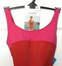 M&S Marks s10 Luxe Italian Fabric Hot Pink Red Sports Swim Sculpt Swimsuit BNWT