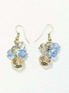 Artisan Silver Tone Blue Gray Faceted Glass AB Bead Cluster Dangle Hook Earrings