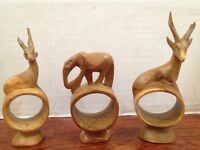 Set of 3 Hand Carved Wood Safari Napkin Rings Elephant Deer
