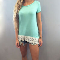 Fashion Women Summer Lace Top Short Sleeve Blouse Casual O-Neck Tops T-Shirt