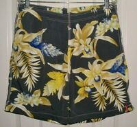 TOMMY BAHAMA RELAX MEN'S SWIM TRUNKS GRAY, YELLOW & BLUE SIZE LARGE