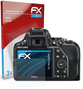 atFoliX 3x Displayschutzfolie für Nikon D3500 Schutzfolie klar Folie