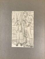 Georg Schott 1906 Ritratto Uomo Mostra Ragazzi Contenitore Laden Disegno Schizzo