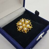VINTAGE Flower Brooch Gold Tone Filigree Faux Pearl Dainty Collar Pin