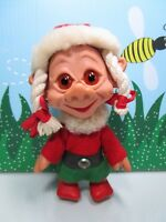 "VINTAGE 1960's CHRISTMAS GIRL/ELF - 6 1/4"" Unmarked Rubber Troll - Very Rare"