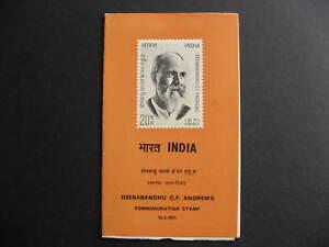 India Sc 535 CF Andrews commemoration stamp presentation folder,FD cancel stamp